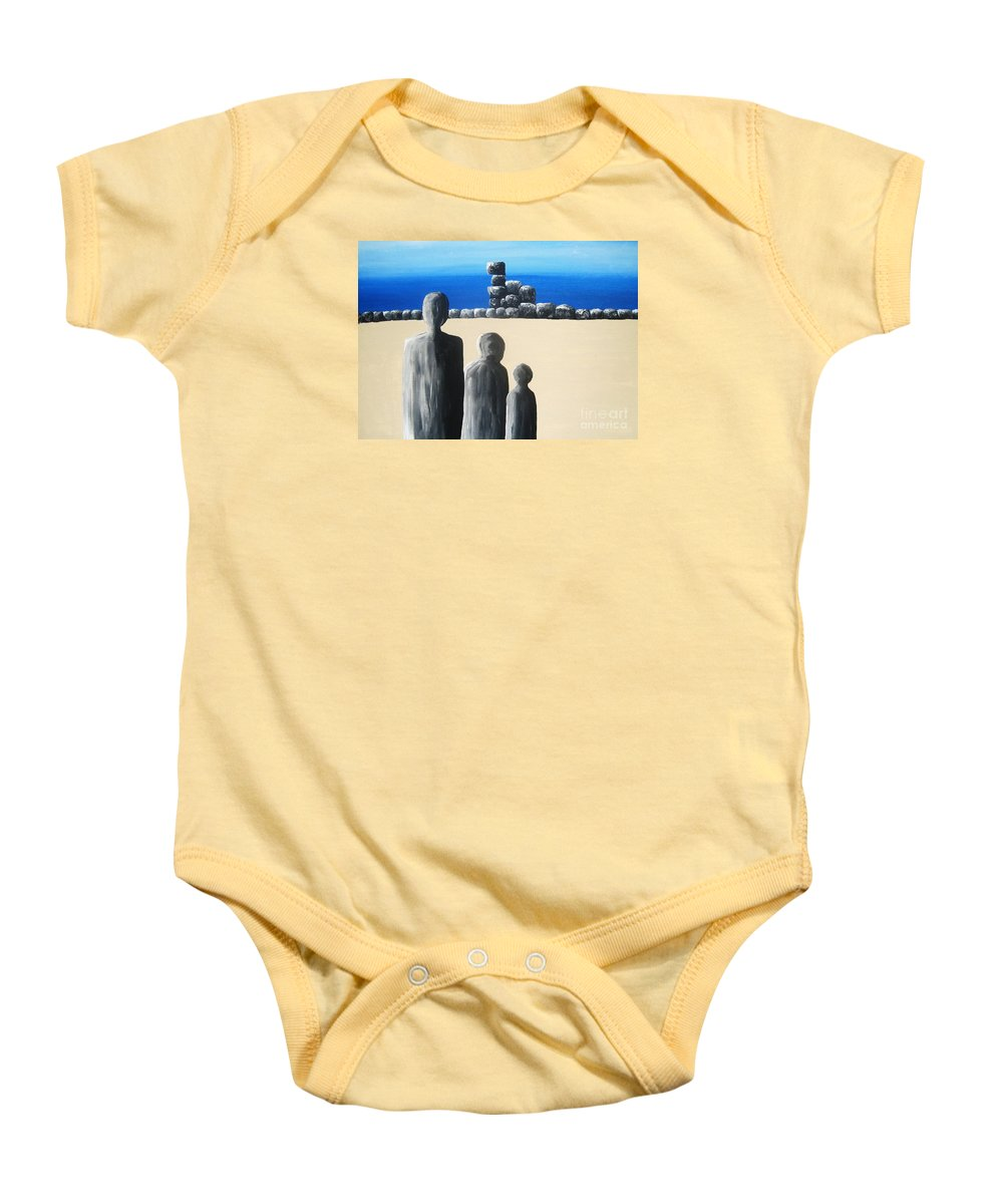 Stones Baby Onesie featuring the painting Stone Horizon by Reb Frost