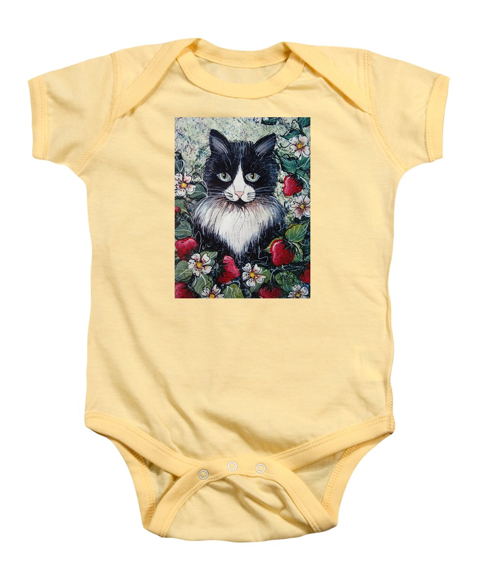 Cat Baby Onesie featuring the painting Strawberry Lover Cat by Natalie Holland