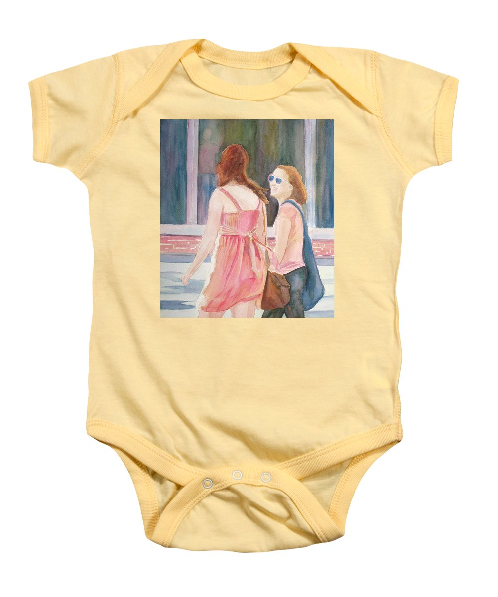 Watercolor Baby Onesie featuring the painting Summer Shoppers by Jenny Armitage