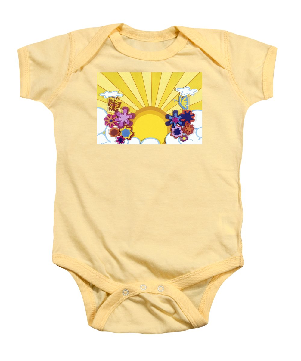 Nature Baby Onesie featuring the drawing Sunburst by Lucyna A M Green