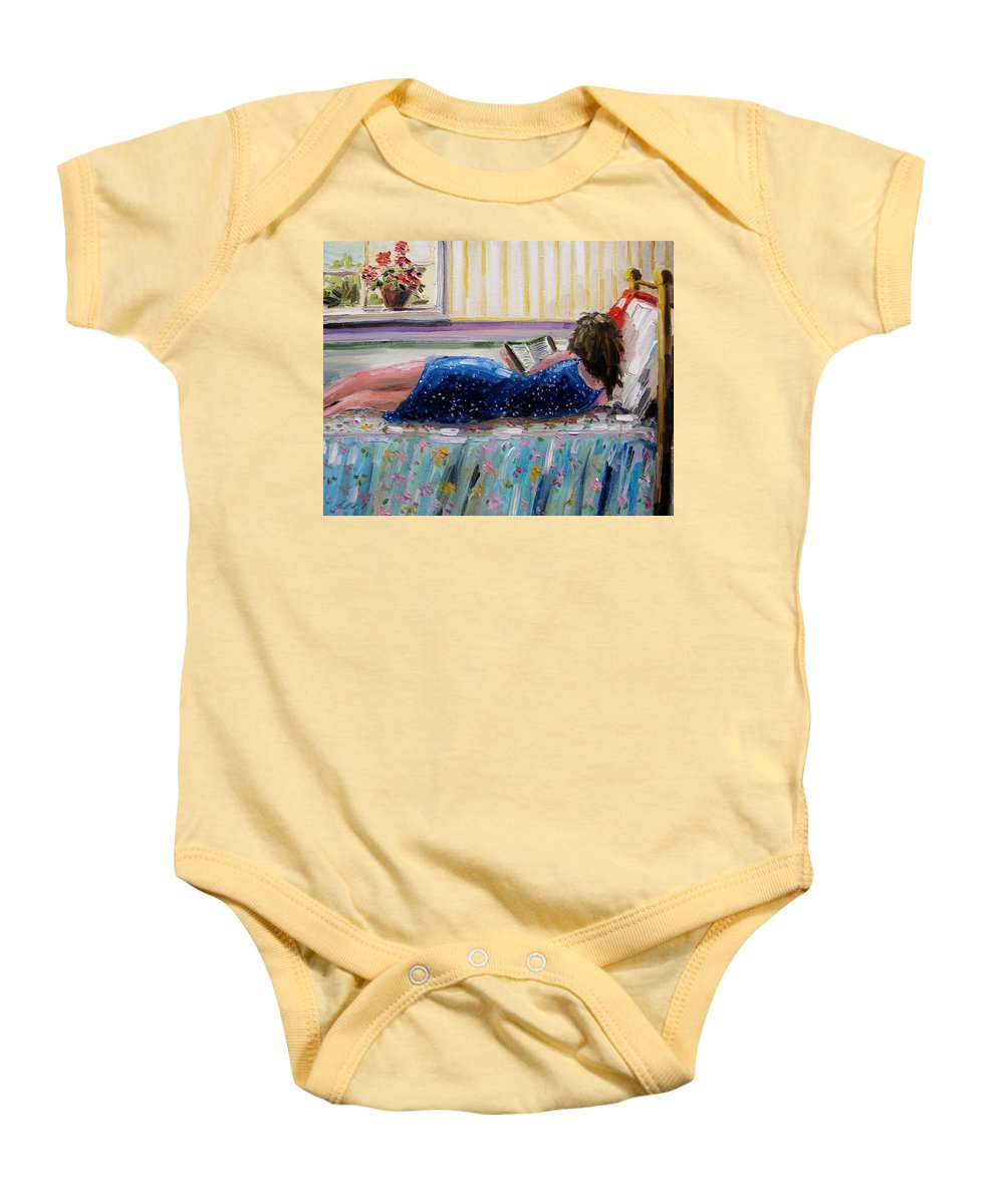 Girl Baby Onesie featuring the painting Sunny Reading by John Williams