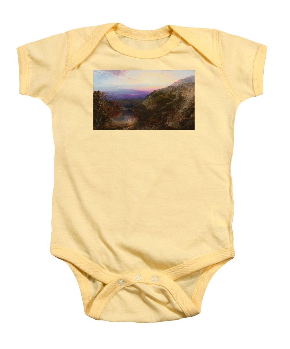 William Louis Sonntag 1822 - 1900 Sunset On The Hudson Baby Onesie featuring the painting Sunset On The Hudson by William Louis