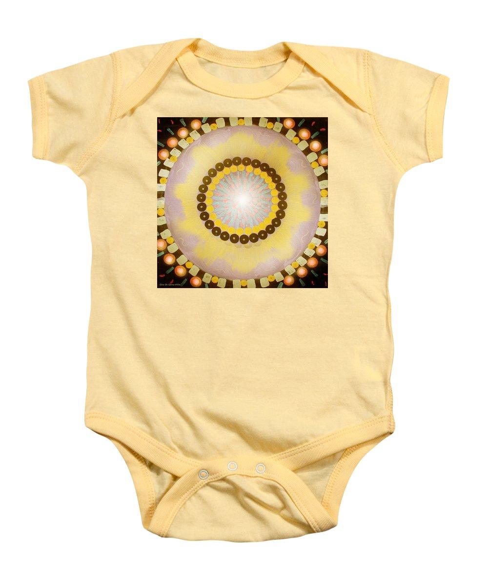 Mandala Baby Onesie featuring the painting Sunshine Mandala by Gina De Gorna