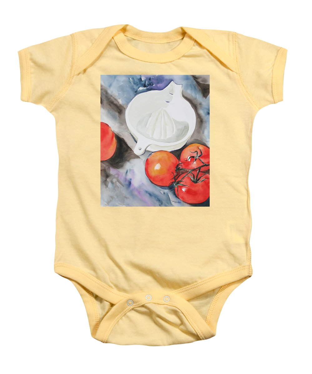 Tomatoes Baby Onesie featuring the painting Sunshine On The Vine by Jean Blackmer