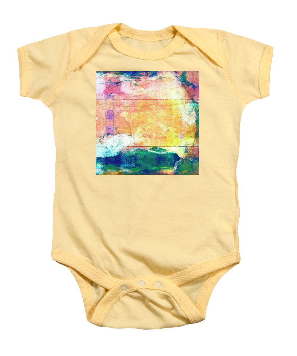 Abstract Baby Onesie featuring the painting Surface Vector by Dominic Piperata
