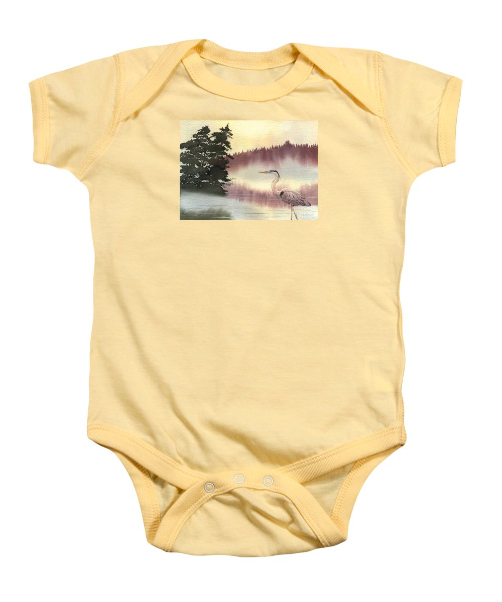 Heron Baby Onesie featuring the painting Surveyor Of The Morning by Lynn Quinn