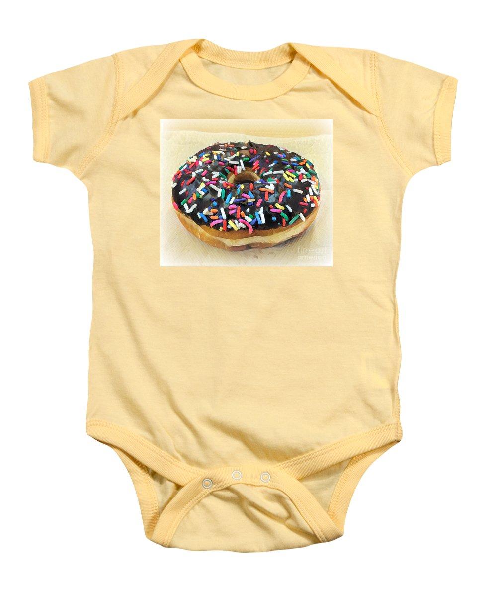 Sweet Indulgence - Donut Baby Onesie featuring the photograph Sweet Indulgence - Donut by Miriam Danar