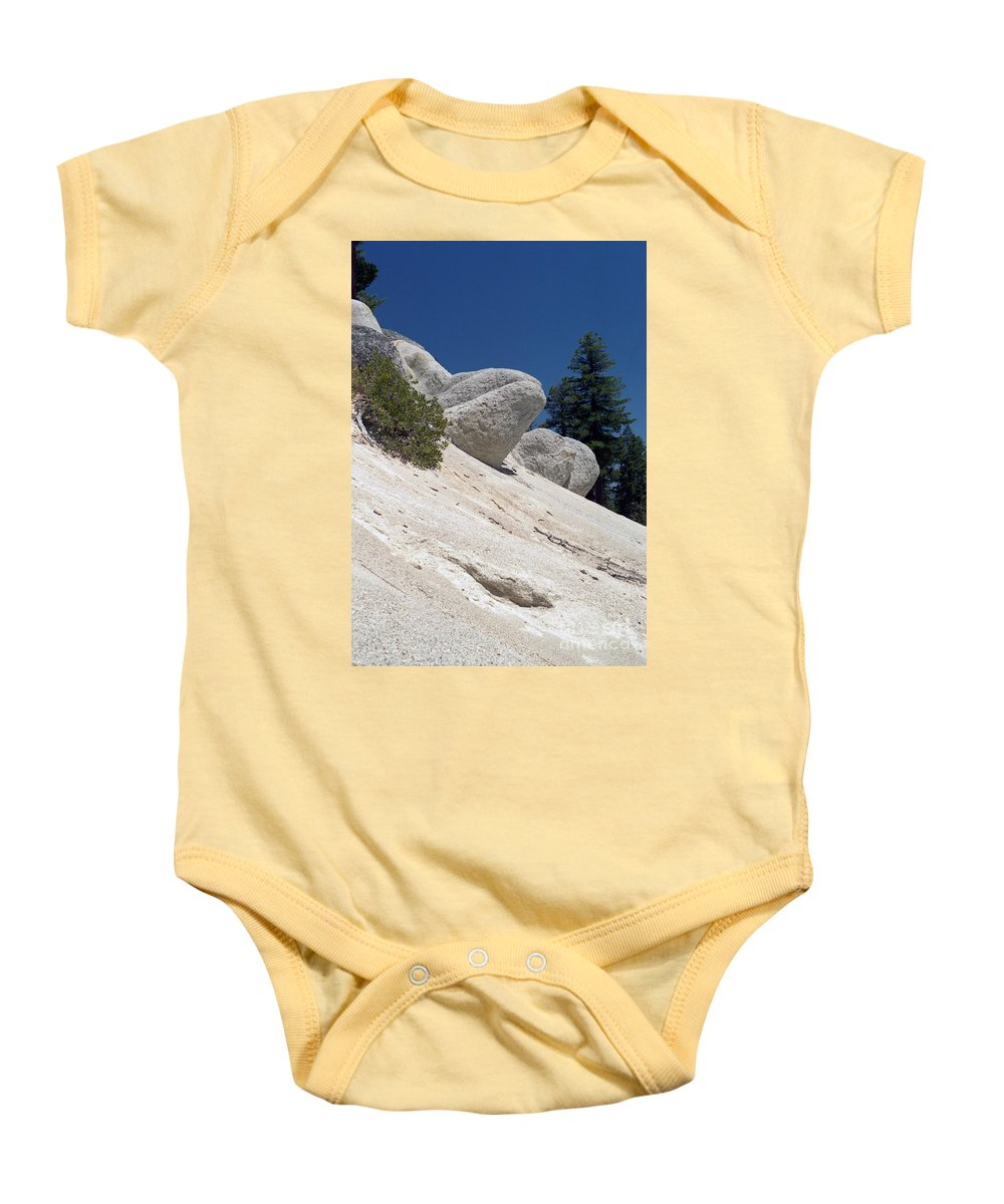 Abstract Baby Onesie featuring the photograph Tahoe Rocks by Richard Rizzo