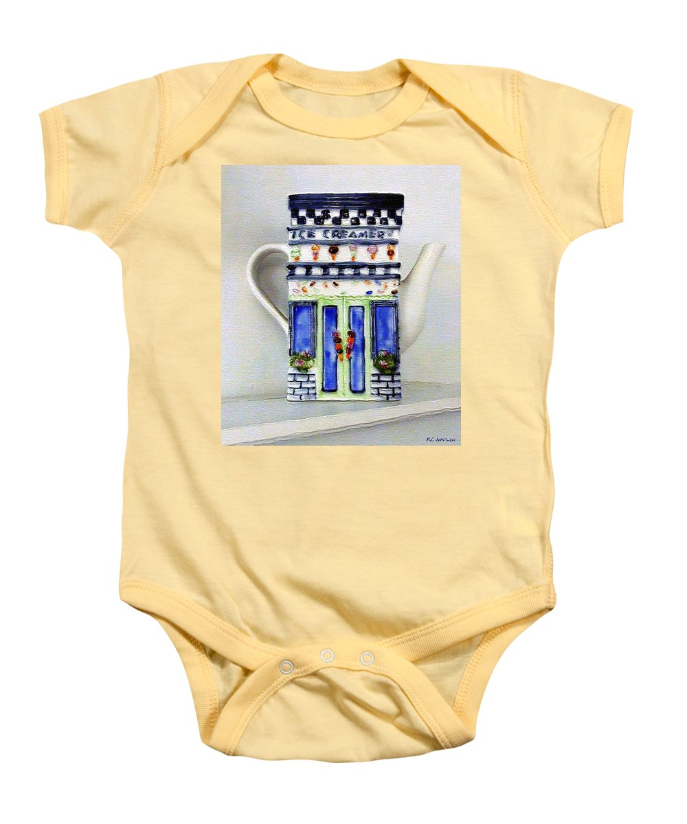 Crockery Baby Onesie featuring the painting Teapot Delusional by RC DeWinter