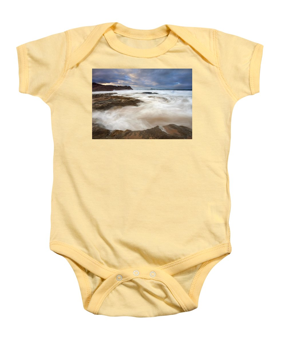 Bowl Baby Onesie featuring the photograph Tempestuous Sea by Mike Dawson