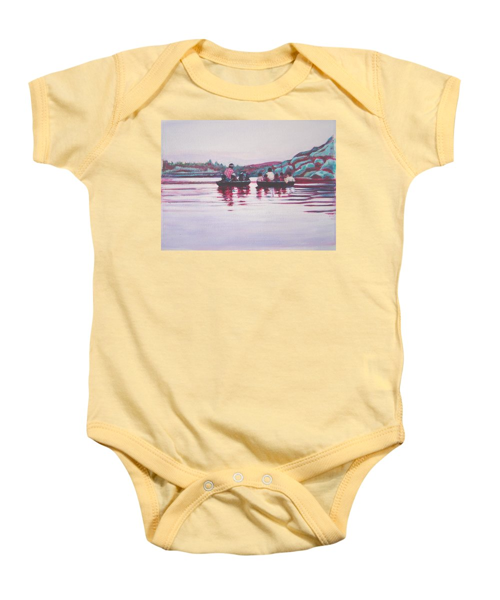 Teppa Baby Onesie featuring the painting Teppa Ride by Usha Shantharam