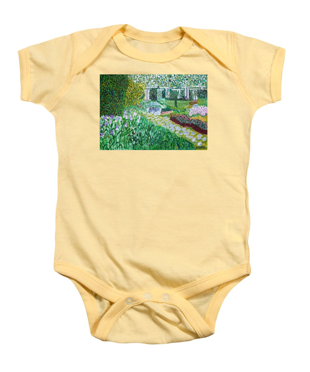 Landscape Baby Onesie featuring the painting Tete D'or Park Lyon France by Valerie Ornstein