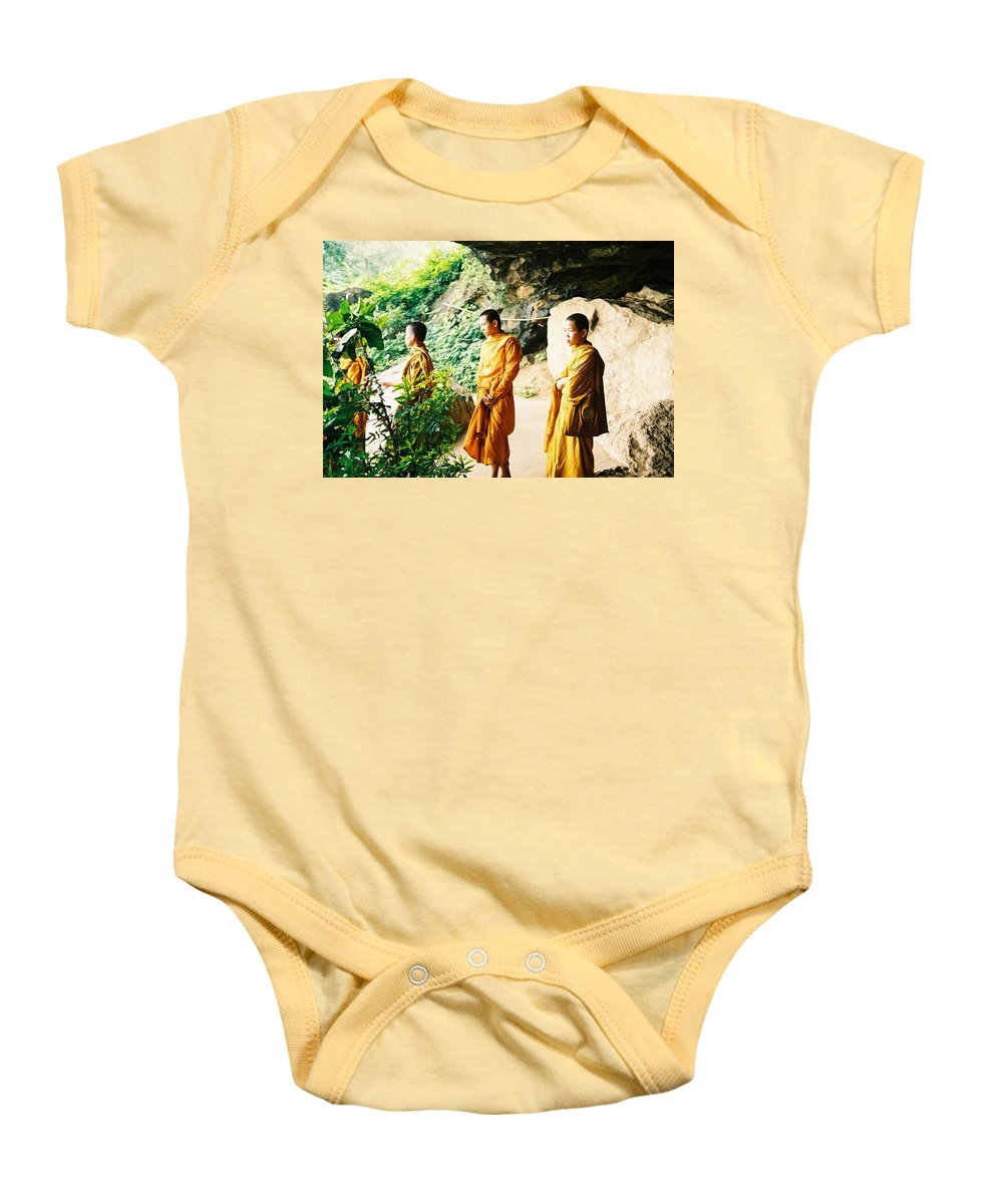 Monks Baby Onesie featuring the photograph Thai Monks by Mary Rogers