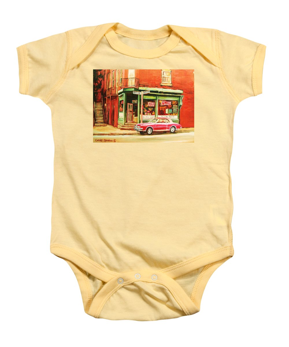Montreal Baby Onesie featuring the painting The Arcadia Five And Dime Store by Carole Spandau