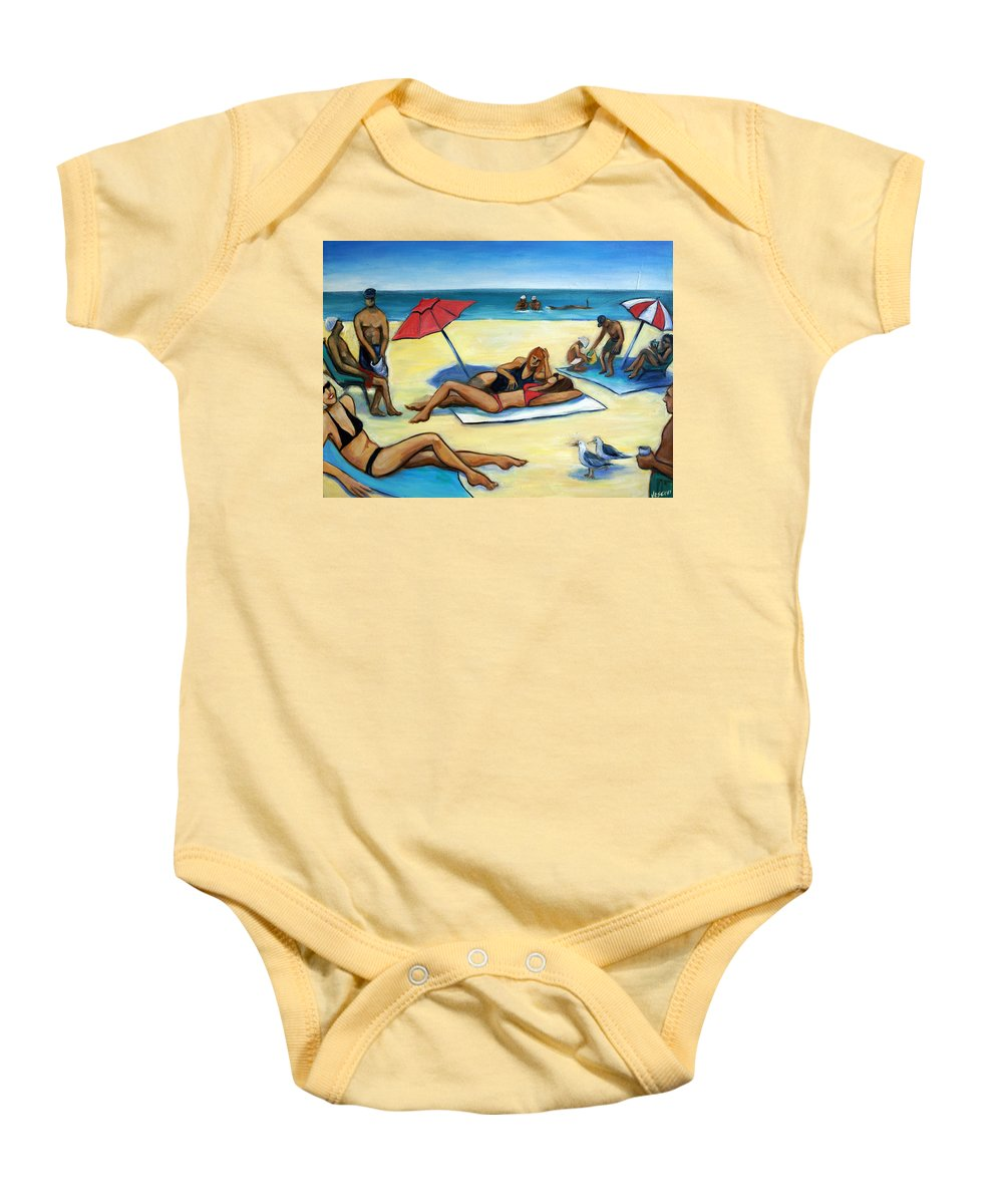 Beach Scene Baby Onesie featuring the painting The Beach by Valerie Vescovi