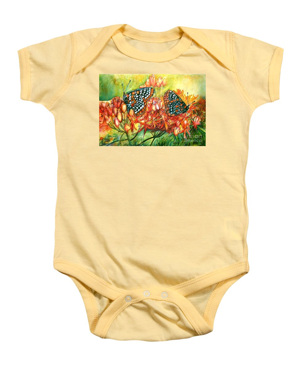 Butterflies Artwork Baby Onesie featuring the painting The Beauty Of Spring by Norma Boeckler