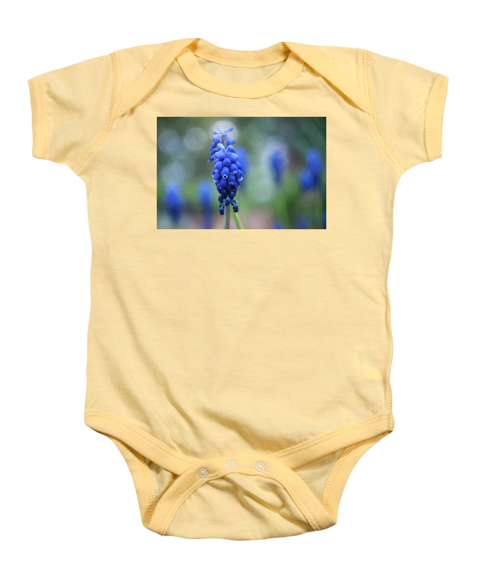 Colorful Baby Onesie featuring the photograph The Bluebells Of Destiny by Daniela Constantinescu