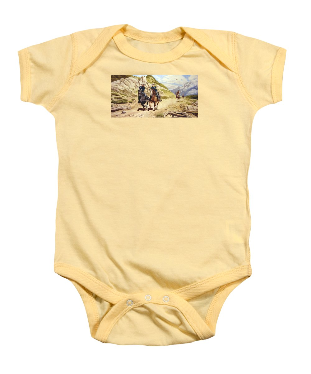 Western Baby Onesie featuring the painting The Chase by Marc Stewart