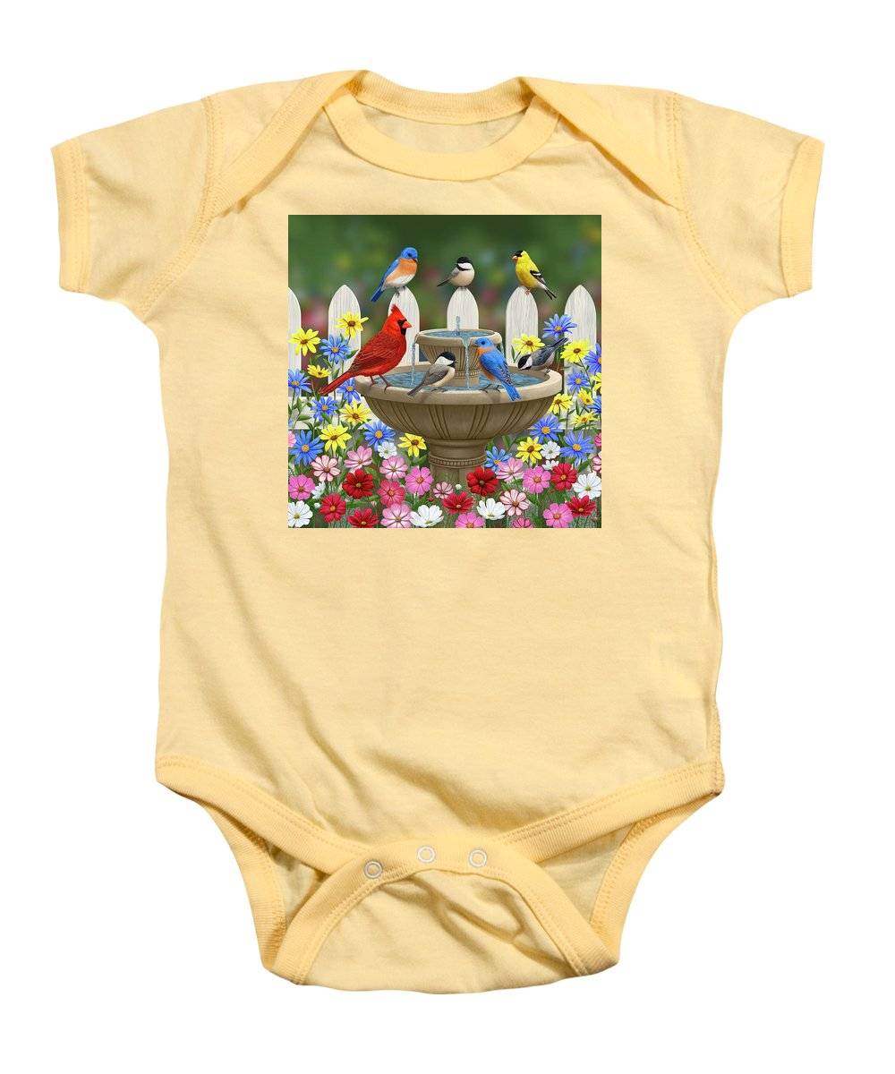 Birds Baby Onesie featuring the painting The Colors Of Spring - Bird Fountain In Flower Garden by Crista Forest