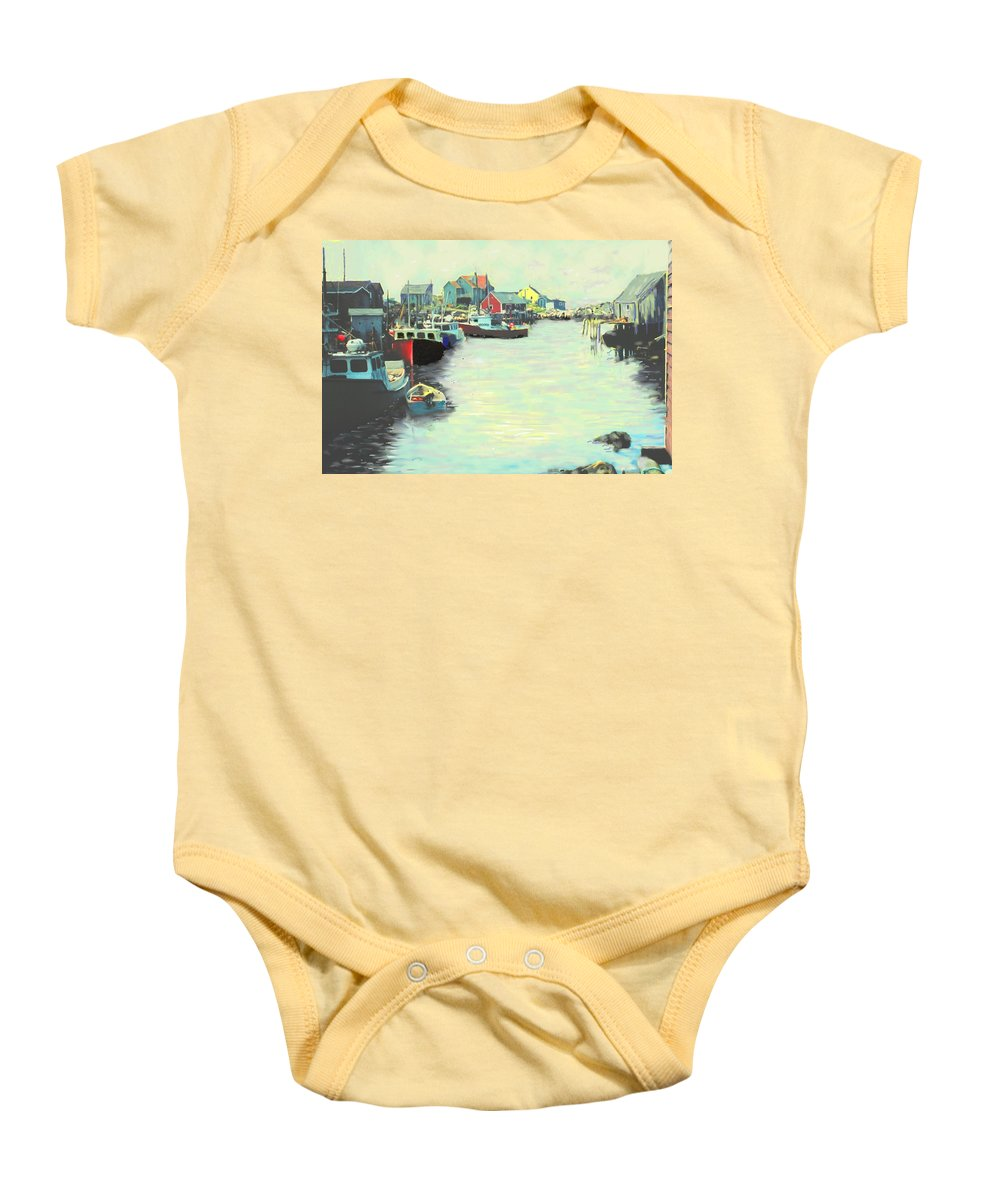 Peggys Cove Baby Onesie featuring the digital art The Cove by Ian MacDonald