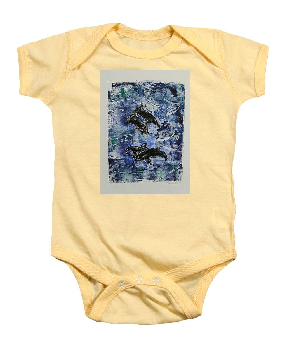 Monotype Baby Onesie featuring the mixed media The Deep Sea by Cori Solomon
