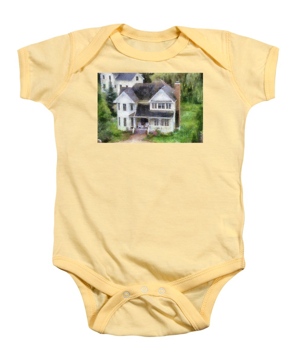 Mackinac Baby Onesie featuring the photograph The Homes Of Mackinac Island Michigan 02 Pa by Thomas Woolworth