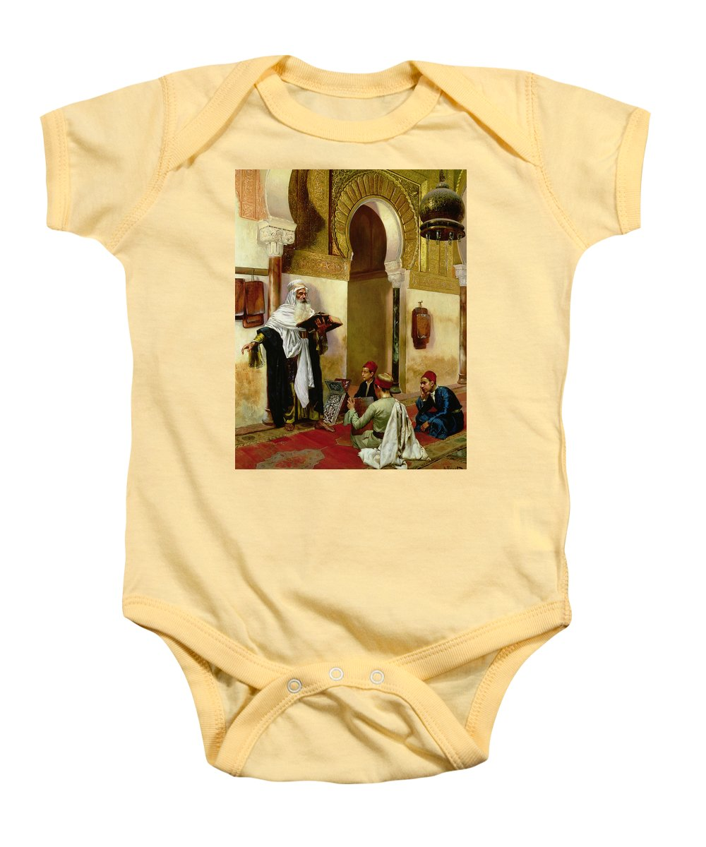 Children; Child; Teacher; Learning; Education; Orientalist; Imam; Moslem; Koran; Quran; Muslim; Religious; Religion; Middle Eastern; Arab Baby Onesie featuring the painting The Lesson by Rudolphe Ernst
