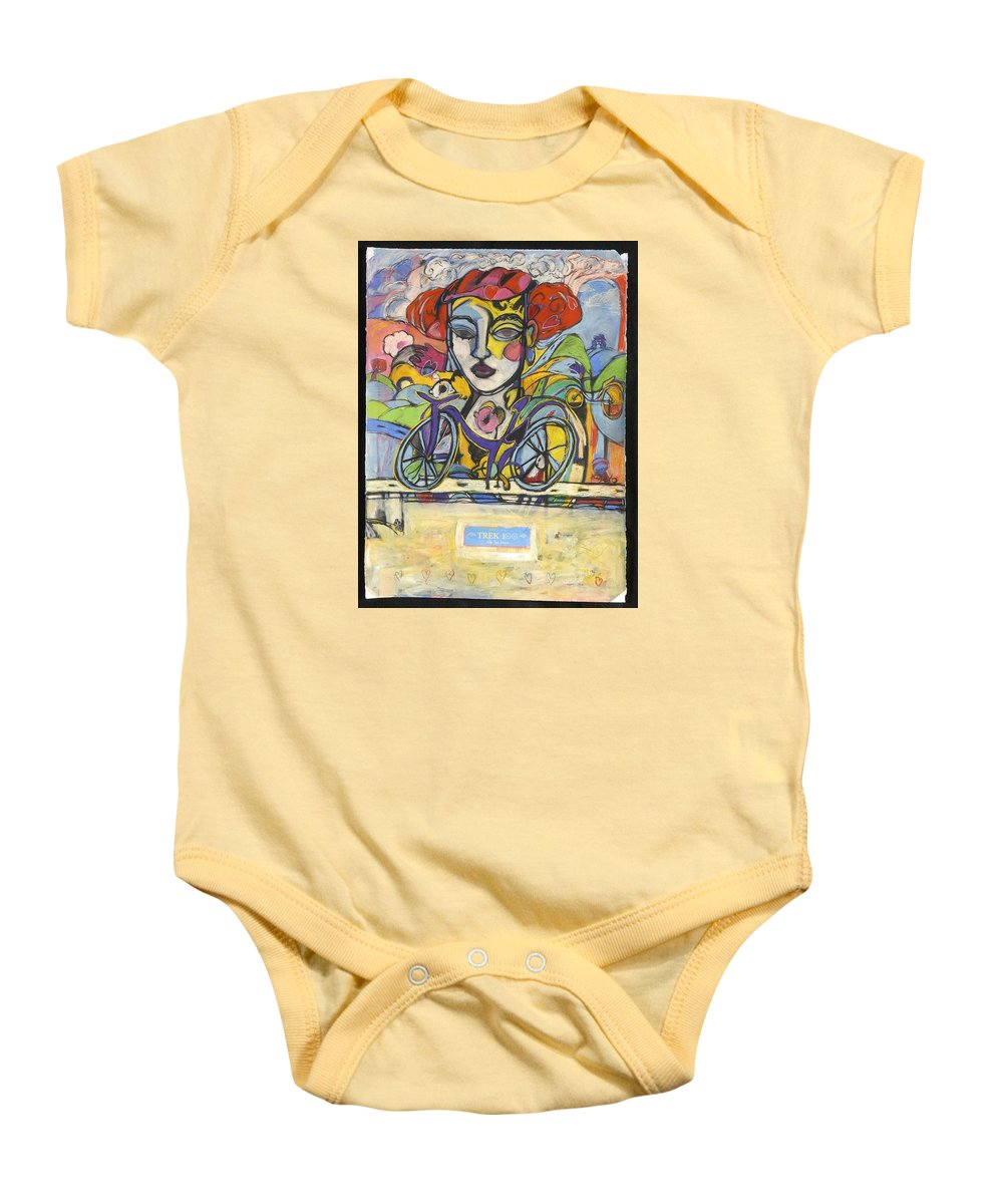Bicycle Baby Onesie featuring the drawing the Messenger by Mykul Anjelo