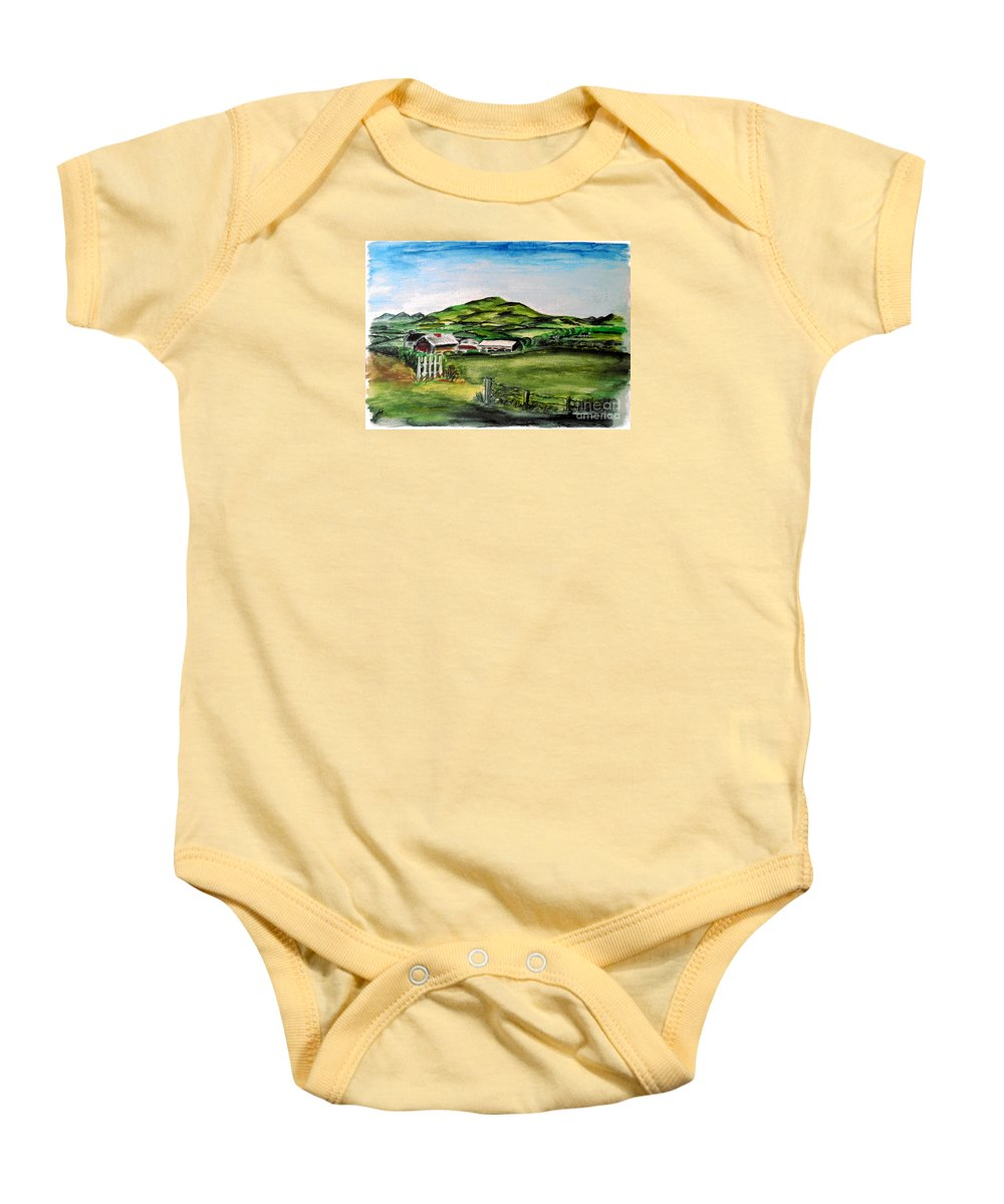 Landscape Baby Onesie featuring the painting The Old Farm by Alan Hogan