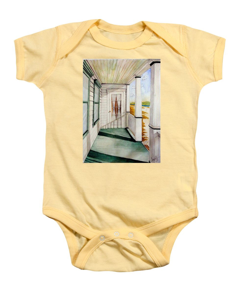 Art Baby Onesie featuring the painting The Porch by Jimmy Smith