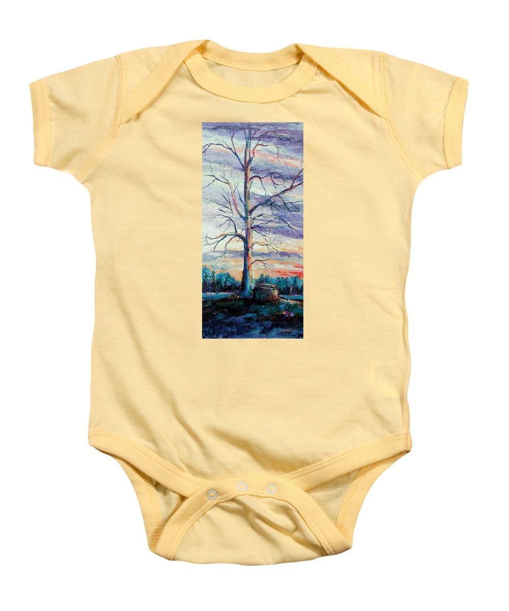 Lone Tree Baby Onesie featuring the painting The Sentinel by Ginger Concepcion
