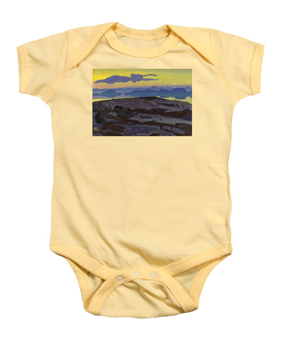 Nikolai Roerich Baby Onesie featuring the painting The Verdict by Nikolai Roerich