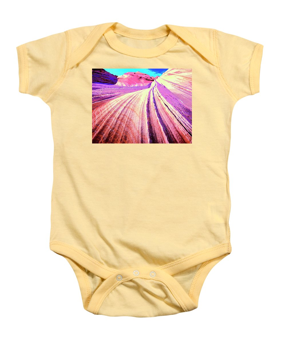 Rock Formation Baby Onesie featuring the mixed media The Wave by Dominic Piperata