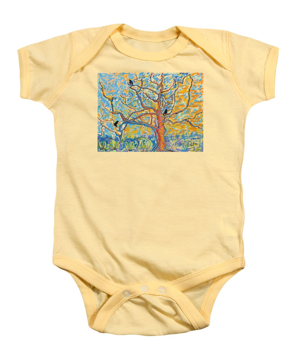 Abstract Painting Baby Onesie featuring the mixed media The Wind Dancers by Pat Saunders-White