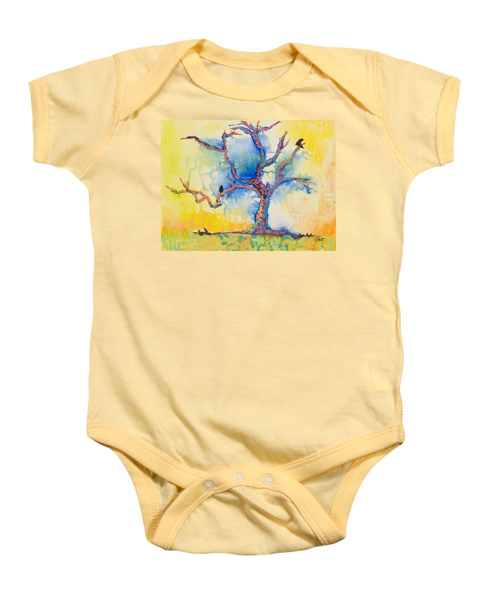 Abstract Painting Baby Onesie featuring the mixed media The Wind Riders by Pat Saunders-White