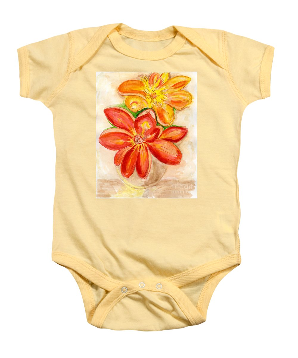Orange Red Flowers Baby Onesie featuring the painting Thoughtfulness by Anne Gitto