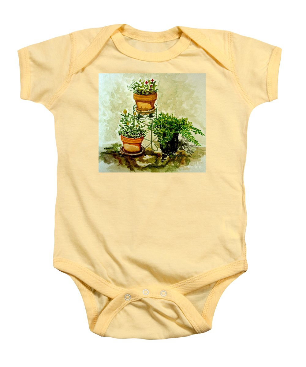 Plants Baby Onesie featuring the painting Three Potted Plants by Elizabeth Robinette Tyndall