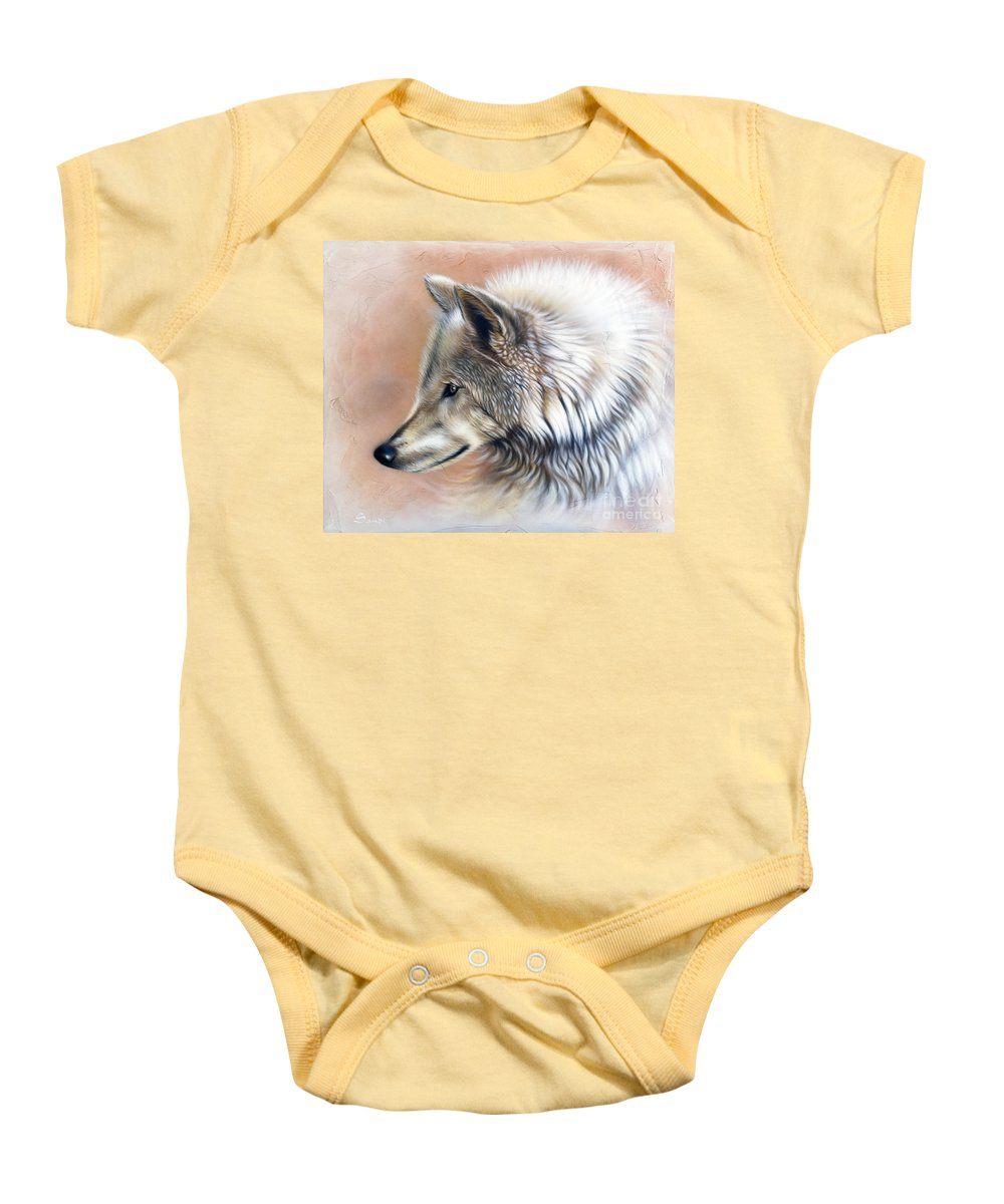 Wolves Baby Onesie featuring the painting Trace IIi by Sandi Baker