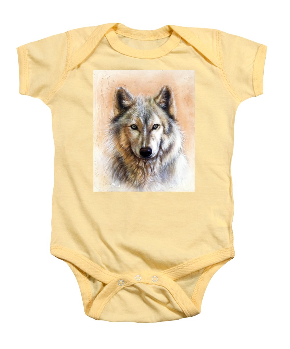 Wolves Baby Onesie featuring the painting Trace Two by Sandi Baker