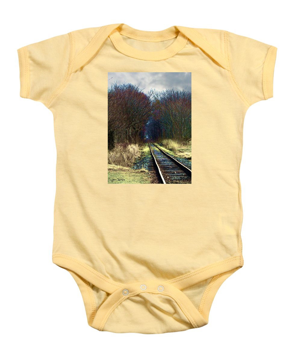 Train Baby Onesie featuring the photograph Tracks by Jeffrey Todd Moore