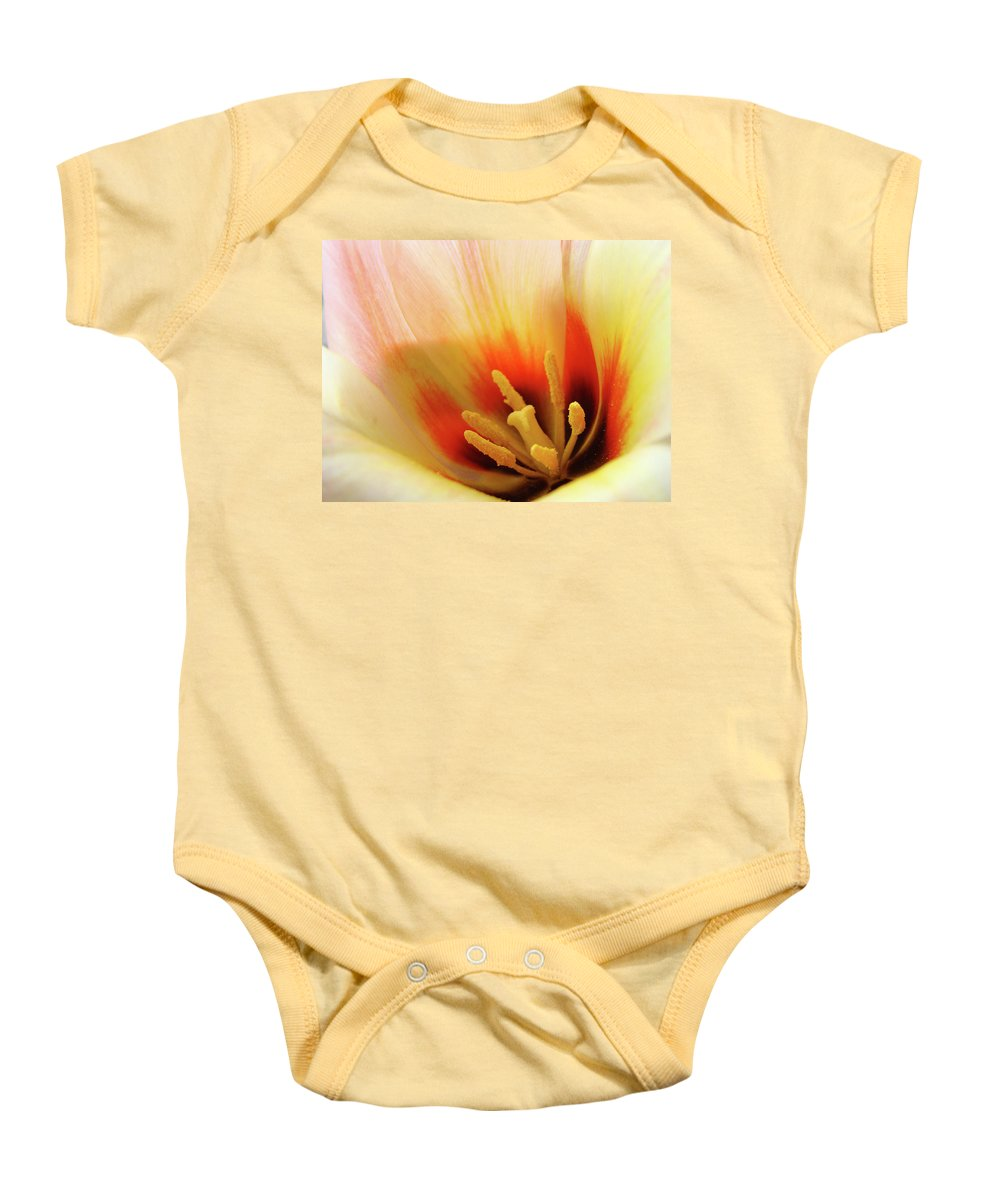 �tulips Artwork� Baby Onesie featuring the photograph Tulip Flower Artwork 31 Tulips Flowers Macro Spring Floral Art Prints by Baslee Troutman