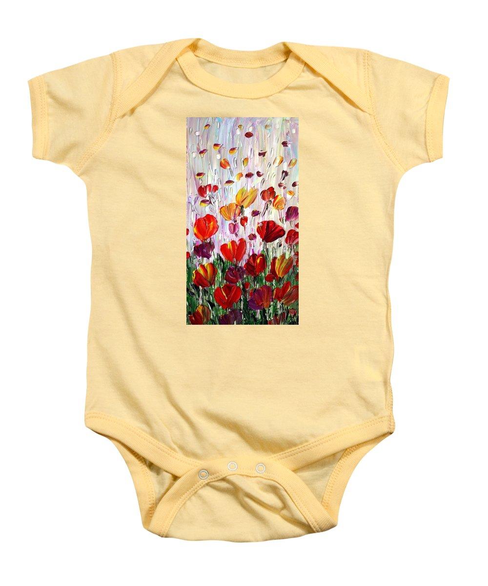 Flowers Baby Onesie featuring the painting Tulips Flowers Garden Seria by Luiza Vizoli