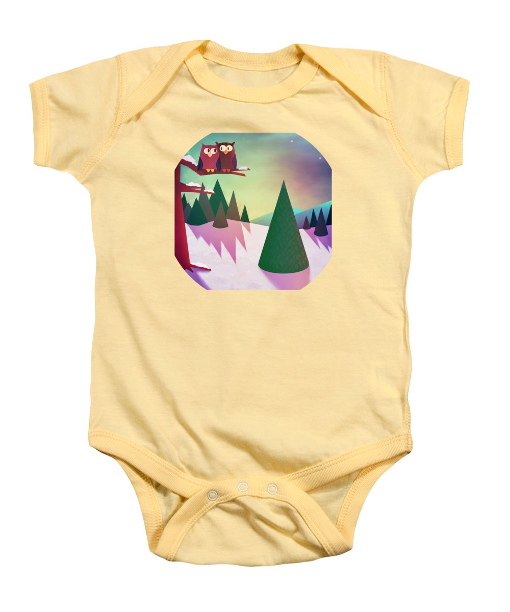 Winter Baby Onesie featuring the painting Twilight In The Woods by Little Bunny Sunshine