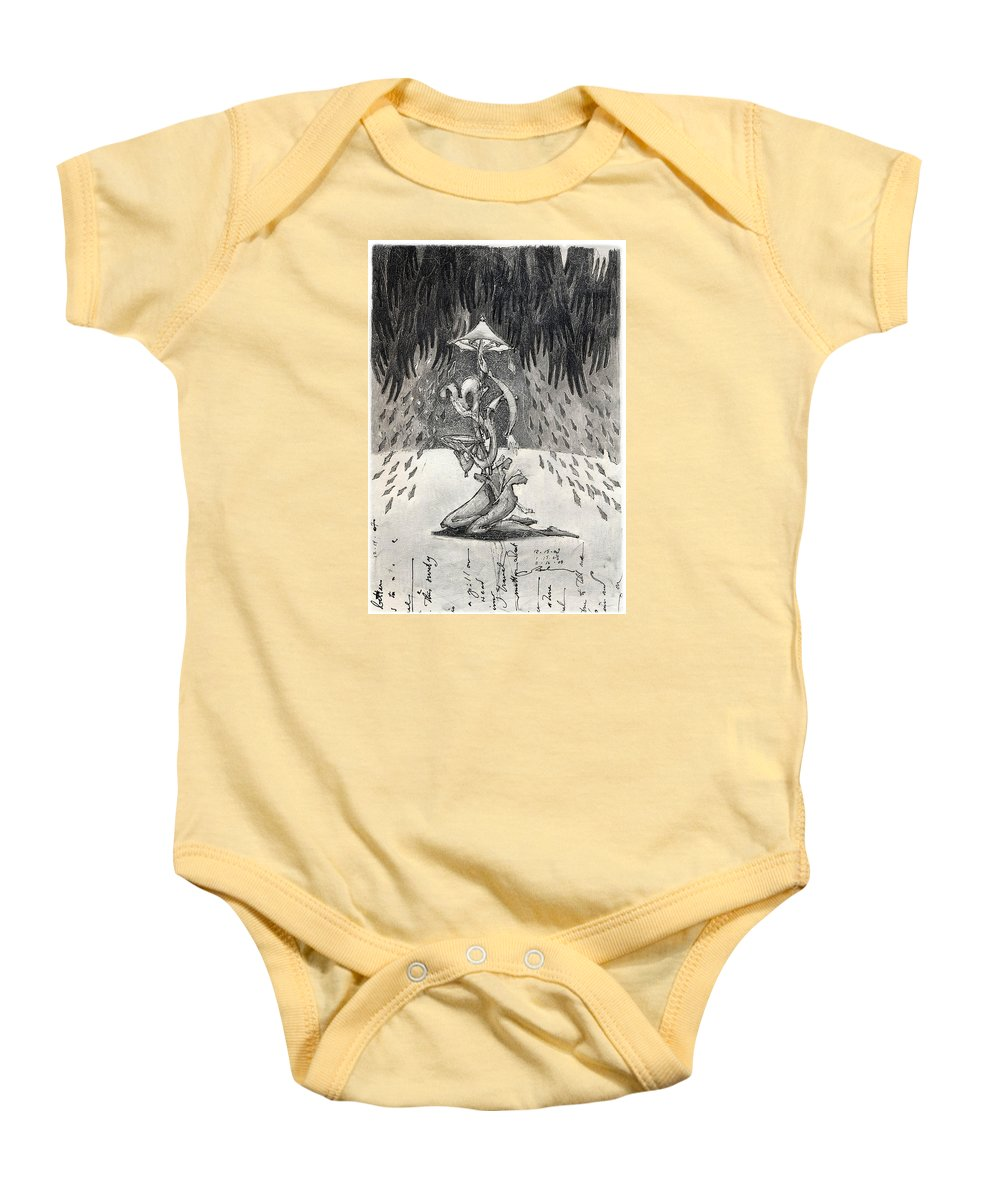 Umbrella Baby Onesie featuring the drawing Umbrella Moon by Juel Grant