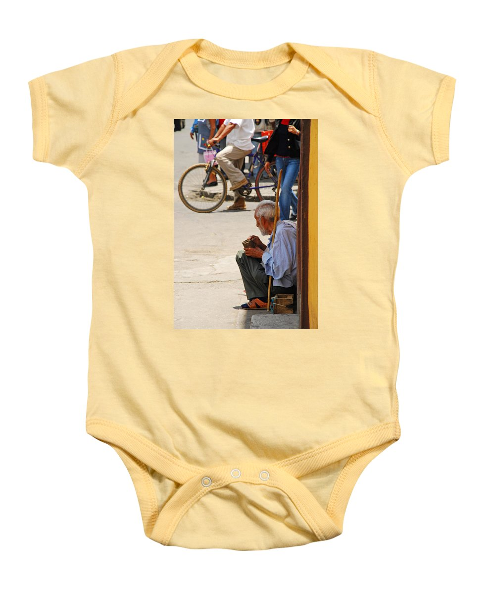 Beggar Baby Onesie featuring the photograph Un Peso Por Favor by Skip Hunt