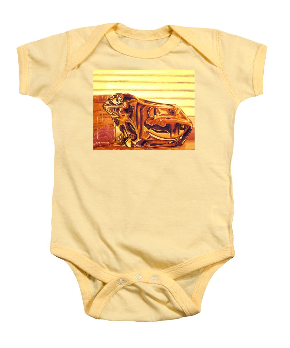 Frog Baby Onesie featuring the painting Untitled by Judy Henninger