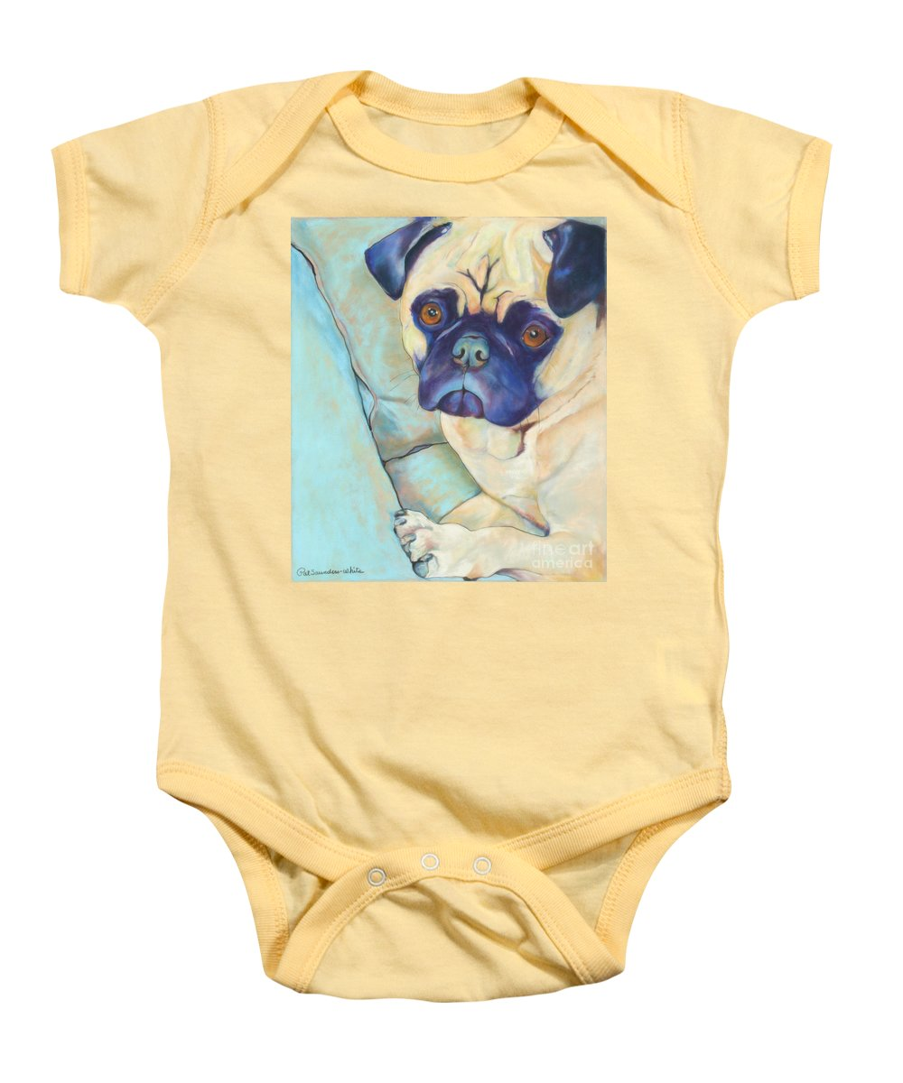 Pug Baby Onesie featuring the pastel Valentino by Pat Saunders-White