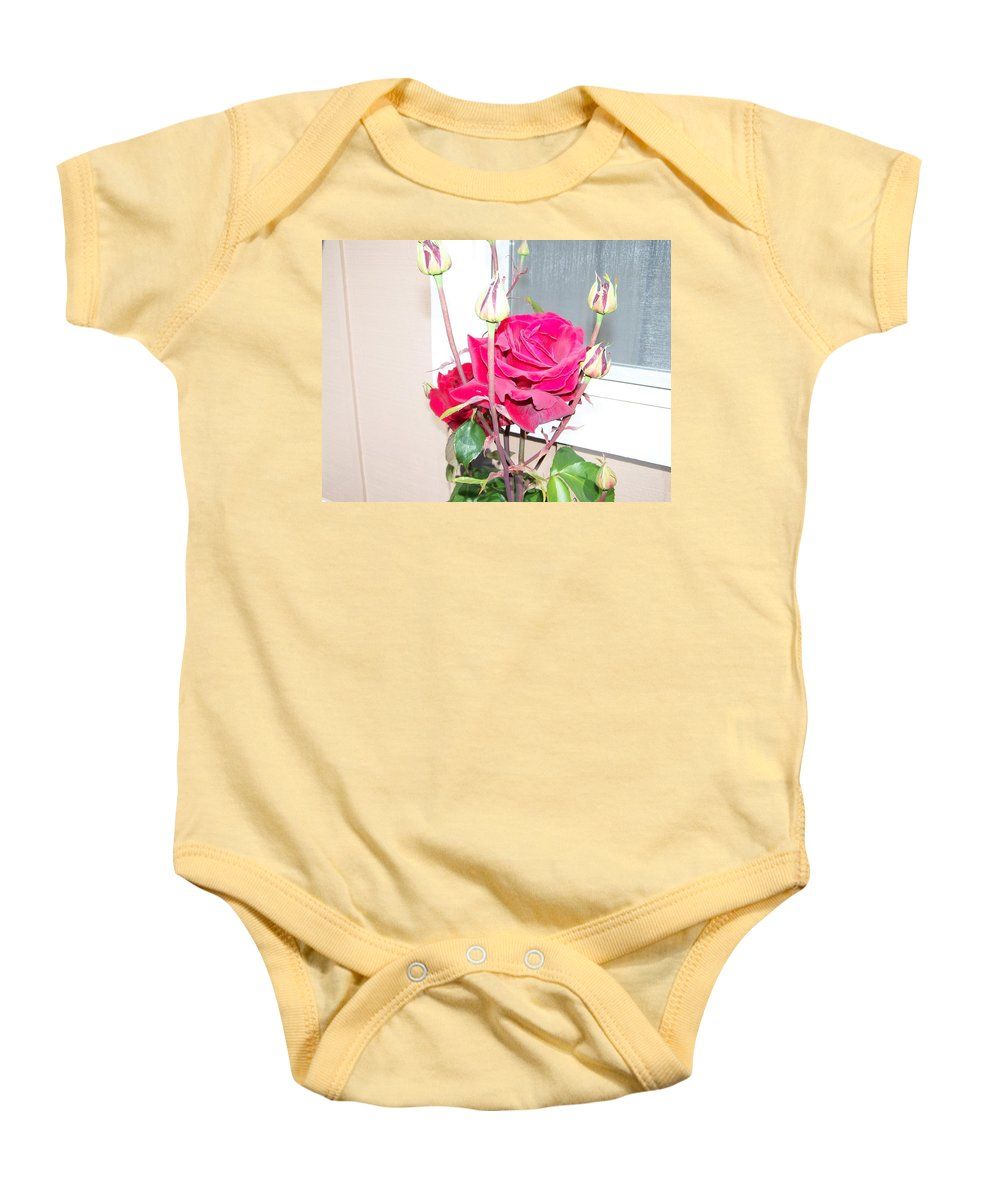 Digital Photography Artwork Baby Onesie featuring the photograph Velvet Red Rose Of Sharon by Laurie Kidd