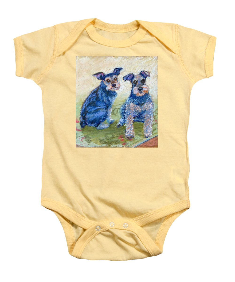 Dogs Baby Onesie featuring the painting Vickie's Pups by Laurie Paci