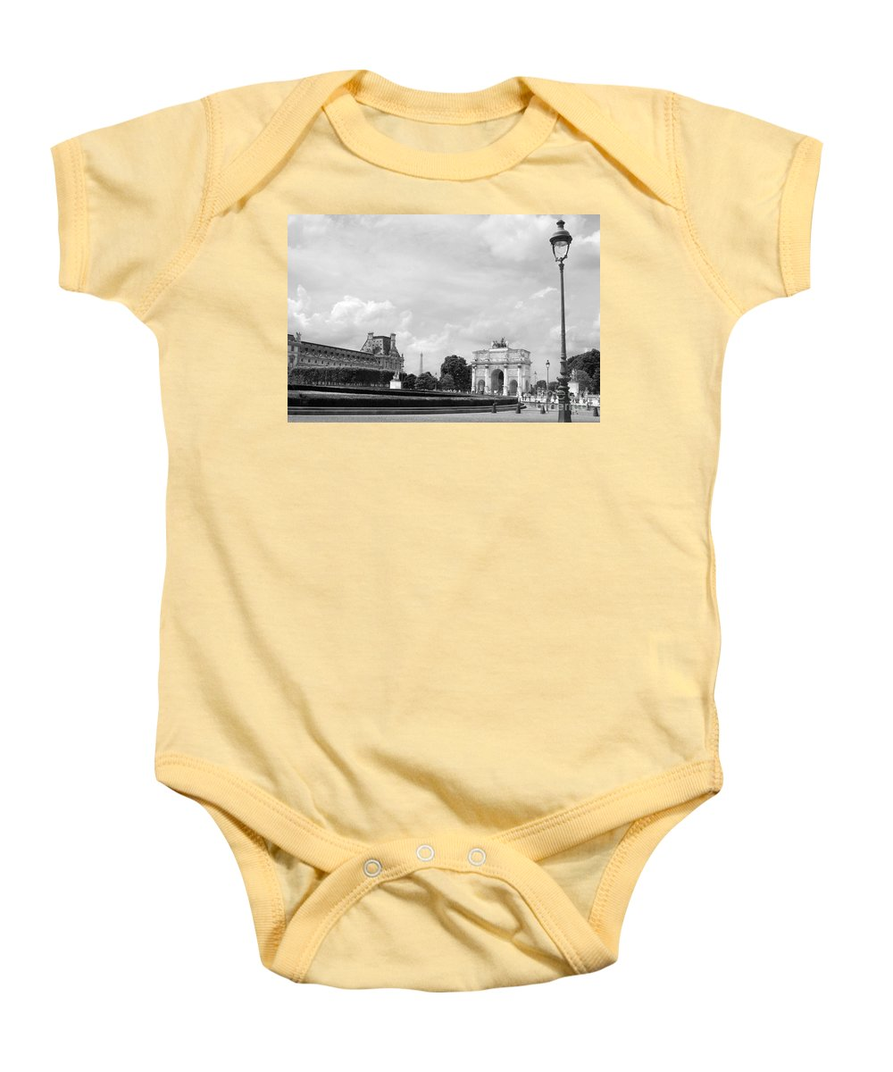 Architecture Baby Onesie featuring the photograph View From The Louvre In Black And White by Angela Rath